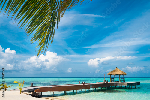 Papiers peints Recifs coralliens Maldivian house on a tropical island, travel background