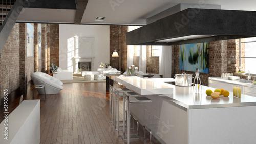 Luxusküche luxus küche in einem loft buy this stock photo and explore similar