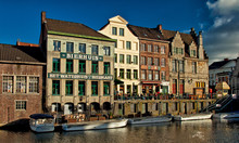 Nice Houses In The Evening In The Old Town Of Ghent, Belgium
