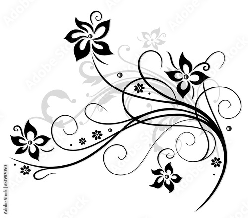 Wall Murals Floral black and white Blume, Blüte, Ranke, schwarz, grau