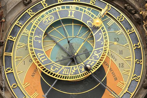 Fotobehang Praag Medieval astronomical Clock in Prague on Old Town Hall