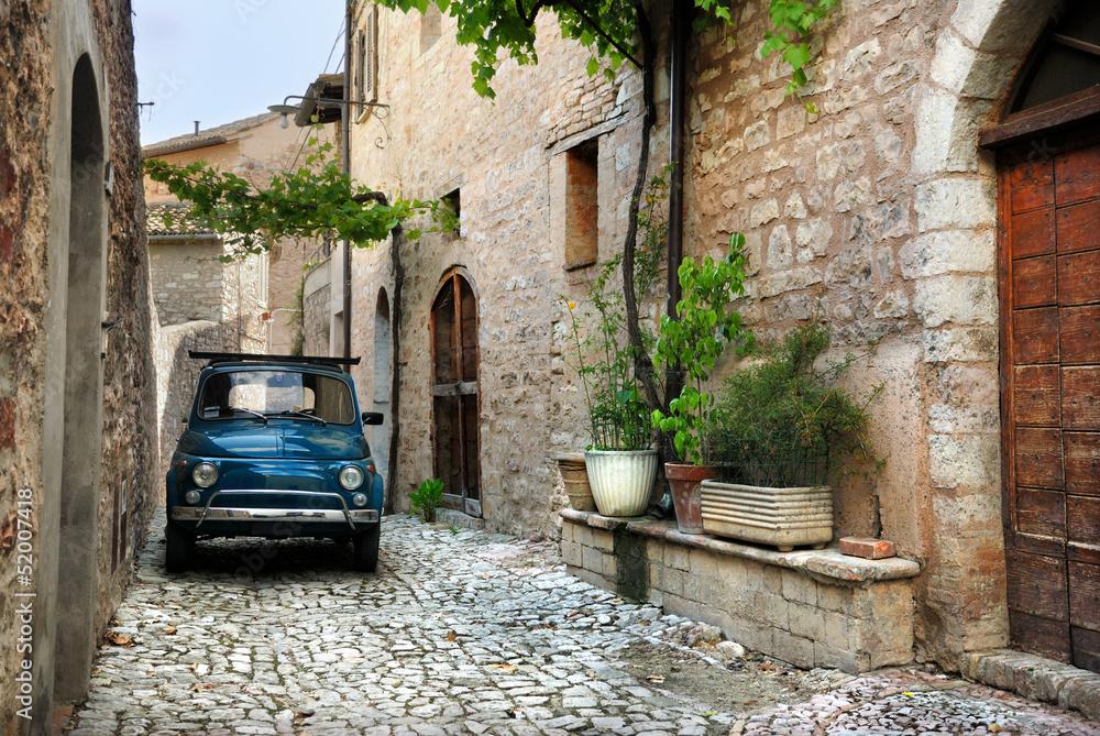 Włoski stary samochód, Spello, Włochy