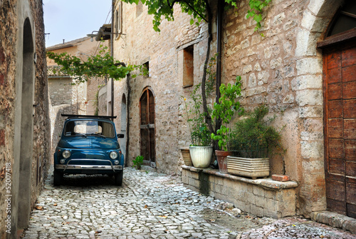 Italian old car, Spello, Italy Wallpaper Mural