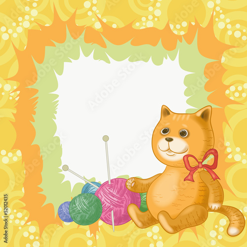 Cartoon cat and accessories for knitting
