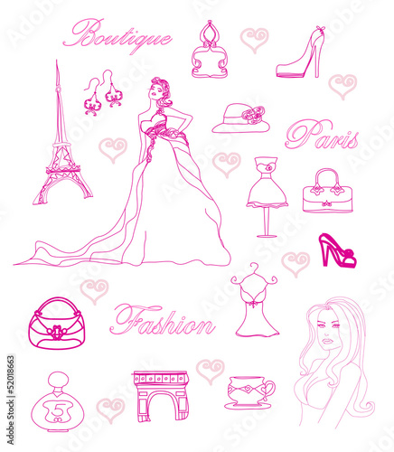 Cadres-photo bureau Doodle Paris fashion doodles set