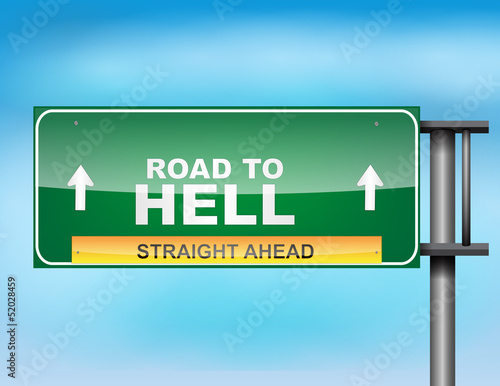 Highway sign with Road to Hell text Wallpaper Mural