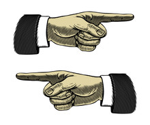 Hand With Pointing Finger Left And Right