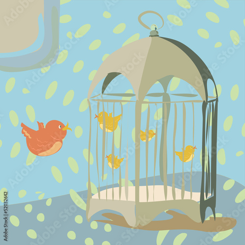 Acrylic Prints Birds in cages Vintage bird cage with birds inside
