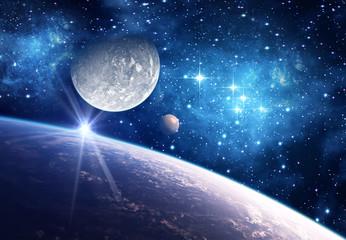 Fototapeta księżyc z planetami