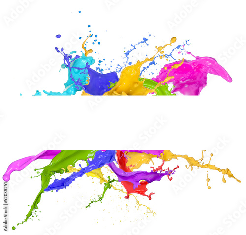 Poster Vormen Colored splashes in abstract shape, isolated on white background