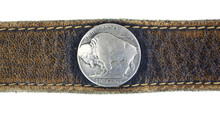 Close View Buffalo Nickel On Belt