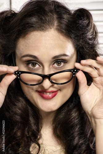 Mujer Joven Con Gafas Y Peinado Retro Buy This Stock Photo And