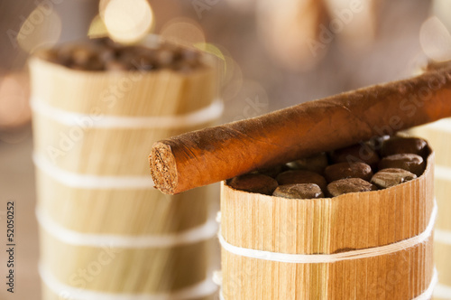 Photo  Cuban cigars in drying house