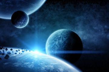 Fototapeta krajobraz planet w przestrzeni kosmicznej