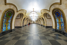 Metro Station Novoslobodskaya, Moscow, Russia. Subway Panorama.