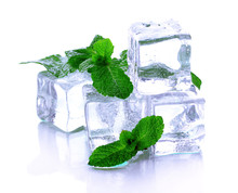 Ice Cubes With Mint Isolated On White