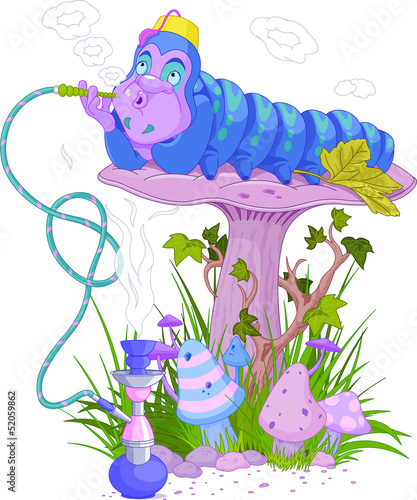 Printed kitchen splashbacks Fairytale World The Blue Caterpillar