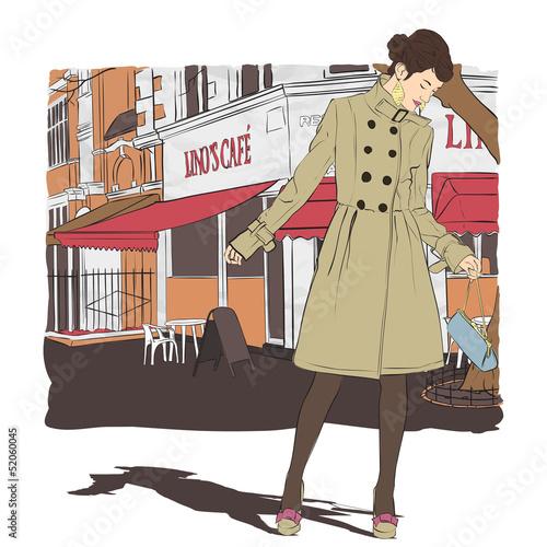 Foto auf AluDibond Gezeichnet Straßenkaffee Lovely young girl in sketch-style on a street cafe background. V