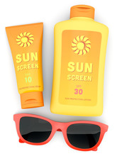Bottle And Tube Of Sunscreen A...