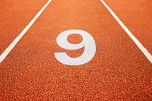 Number Nine On Running Track