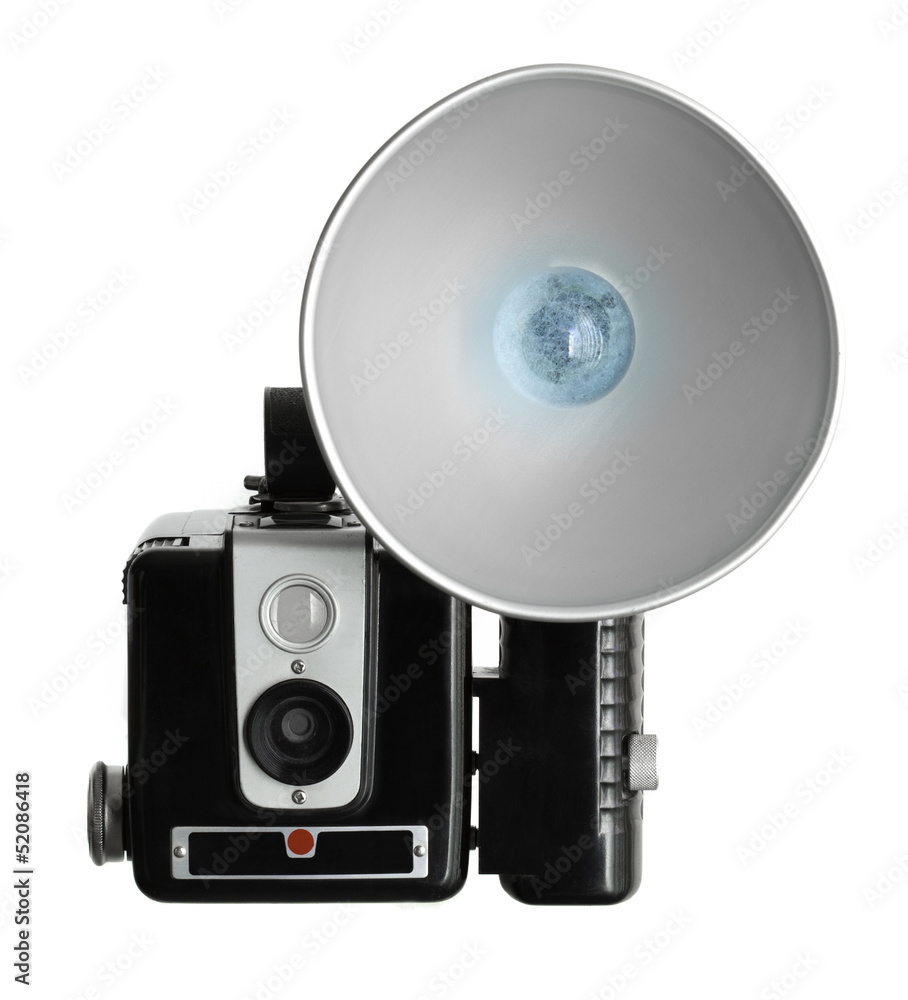 Photo  Vintage Film Camera with Flash