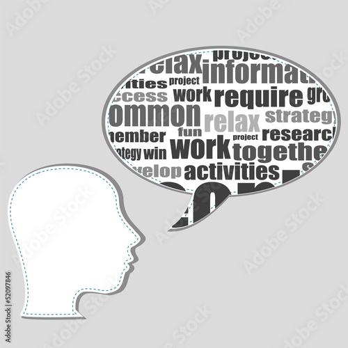 Photo  Brain training in business word collage