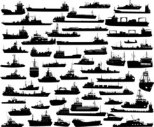 Set Of 54 Silhouettes Of Sea Y...