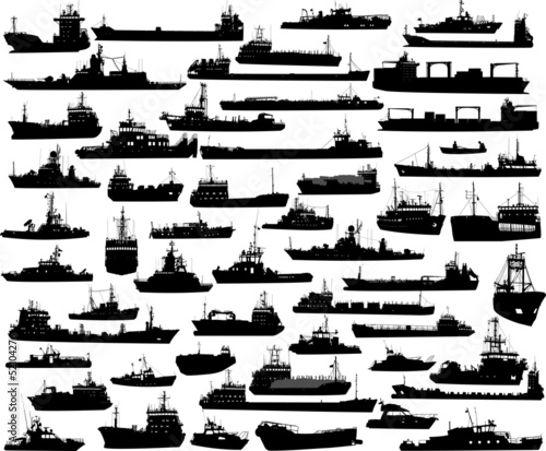 Obraz na płótnie Set of 54 silhouettes of sea yachts, towboat and the ships