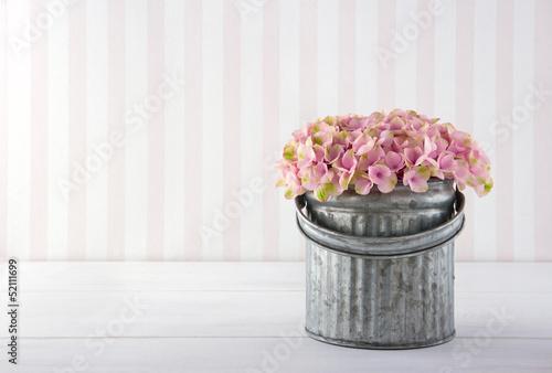 Wall Murals Hydrangea Hydrangea flowers in a metal bucket
