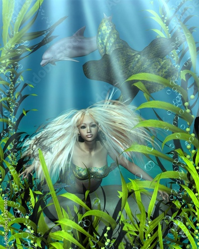 Wall Murals Mermaid Green and Blue Mermaid Peering through Seaweed
