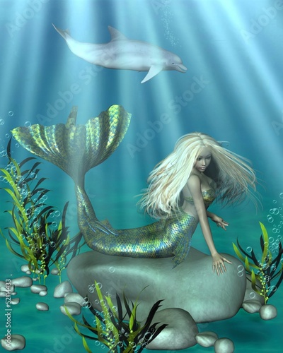 Wall Murals Mermaid Green and Blue Mermaid Underwater