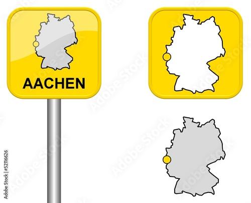 Aachen Ortsschild Button Und Deutschlandkarte Buy This Stock