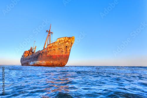 In de dag Schip Shipwreck near Githeio,Greece