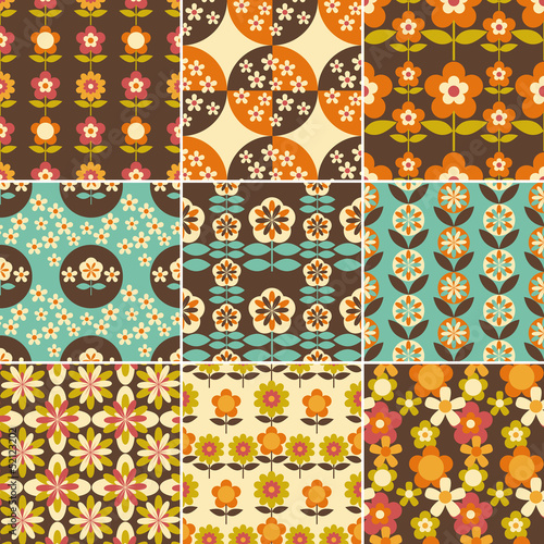 Poster  Set of 70s Seamless Patterns Design