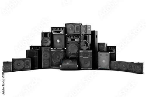 Large group of speakers in a row, on a white background. Canvas Print