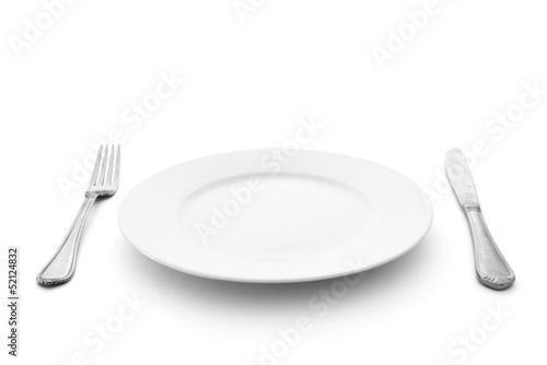 Fotografie, Obraz  knife with fork and plate