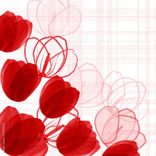 Tuinposter Abstract bloemen Red tulips