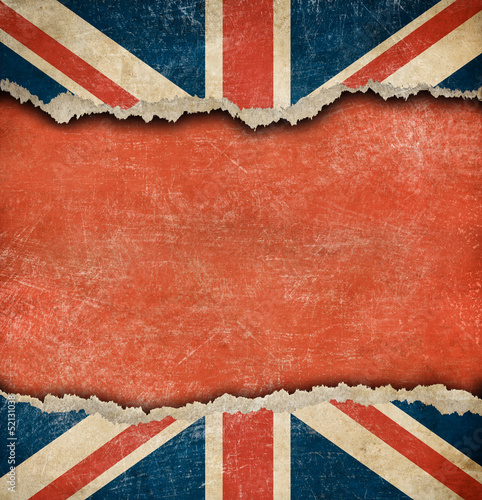 Fotografie, Obraz  Grunge British flag on ripped paper with big empty space