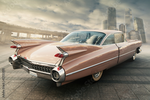 Photo sur Aluminium Vintage voitures View of classic vintage car