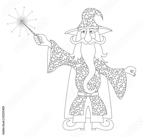 Wizard with magic wand, outline Poster