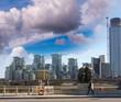Modern buildings and Metropolis skyline