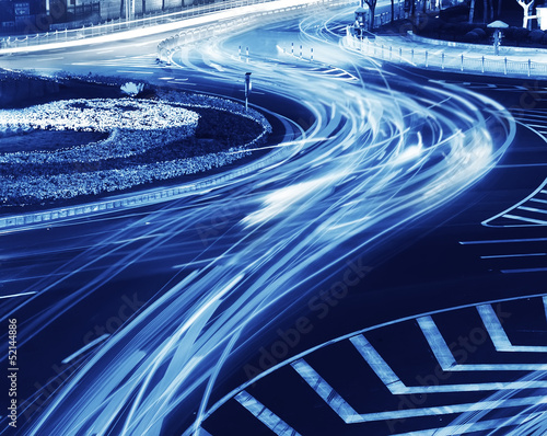 the light trails on the modern building background in shanghai china #52144886