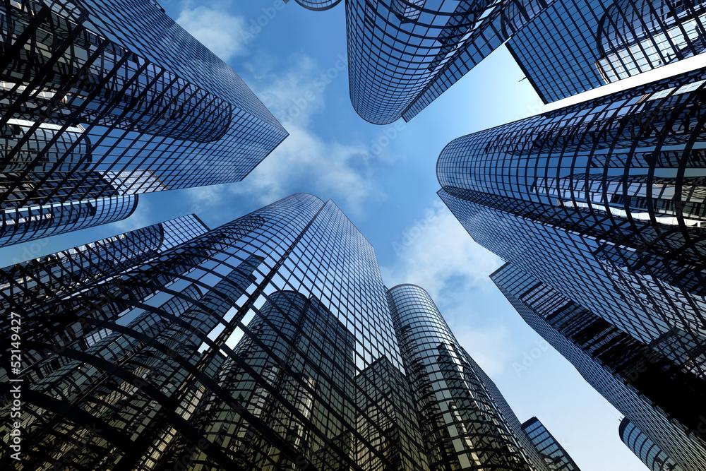 Fototapeta Reflective skyscrapers, business office buildings.