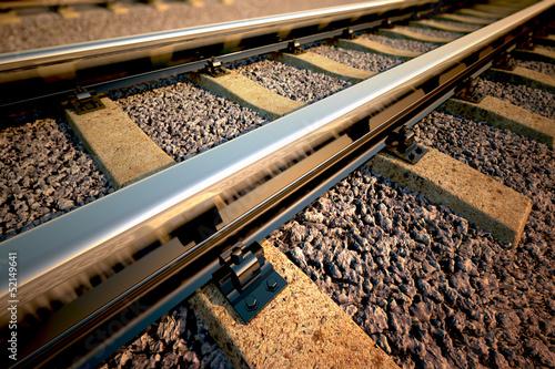 Poster Voies ferrées Railroad straight track.