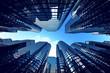 Leinwandbild Motiv Business towers with fisheye lens effect.
