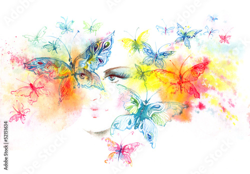 Fototapeta  girl and butterflies