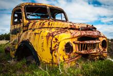 Yellow Pickup Truck Rusty Wreck