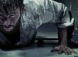 Leinwanddruck Bild - Dirty man trying to get up