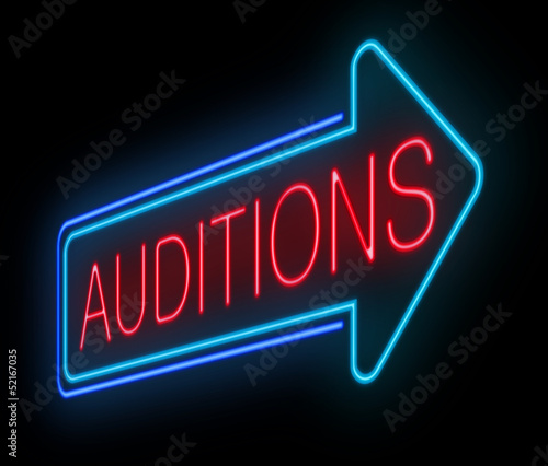 Photo Neon auditions sign.