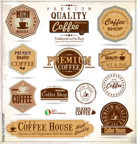Recess Fitting Vintage Poster Set Of Vintage Retro Coffee Labels
